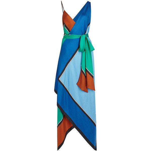 Diane von Furstenberg Colour-block handkerchief silk maxi dress ($605) ❤ liked on Polyvore featuring dresses, colorblock maxi dress, color block maxi dress, asymmetrical dresses, multi color maxi dress and colorful maxi dress
