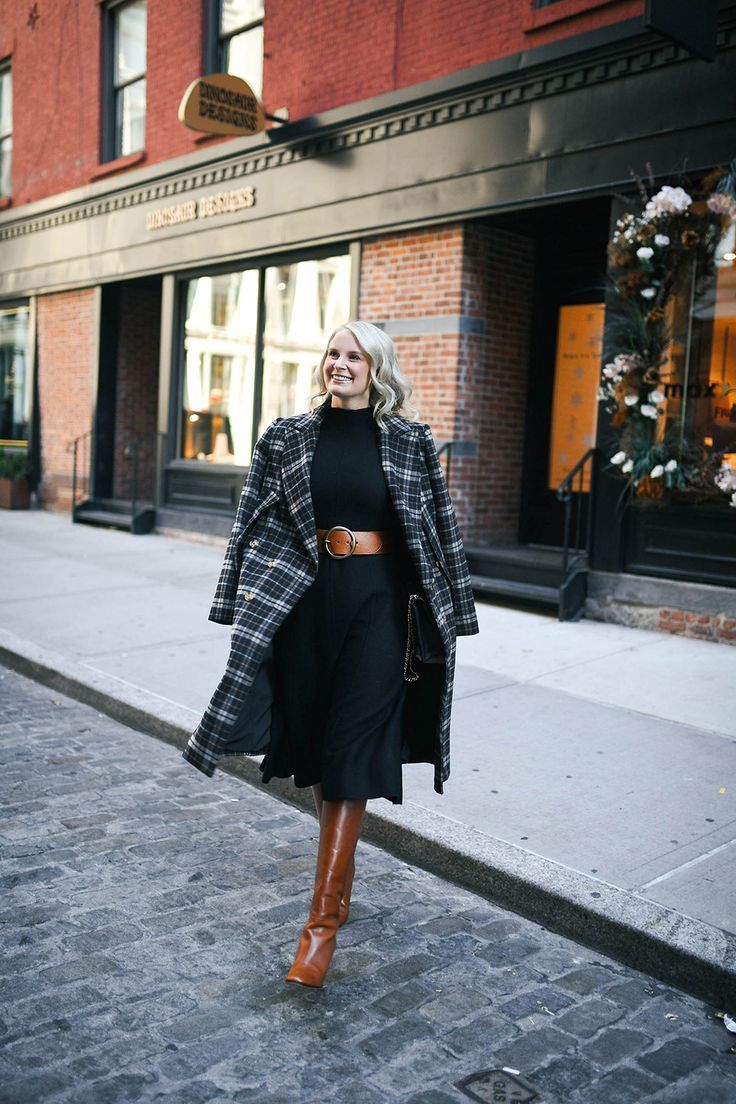 What I Wore To My Nyc Meet Up The Style Scribe Sweater Dress Midi Plaid Coat Midi Dress [ 1104 x 736 Pixel ]