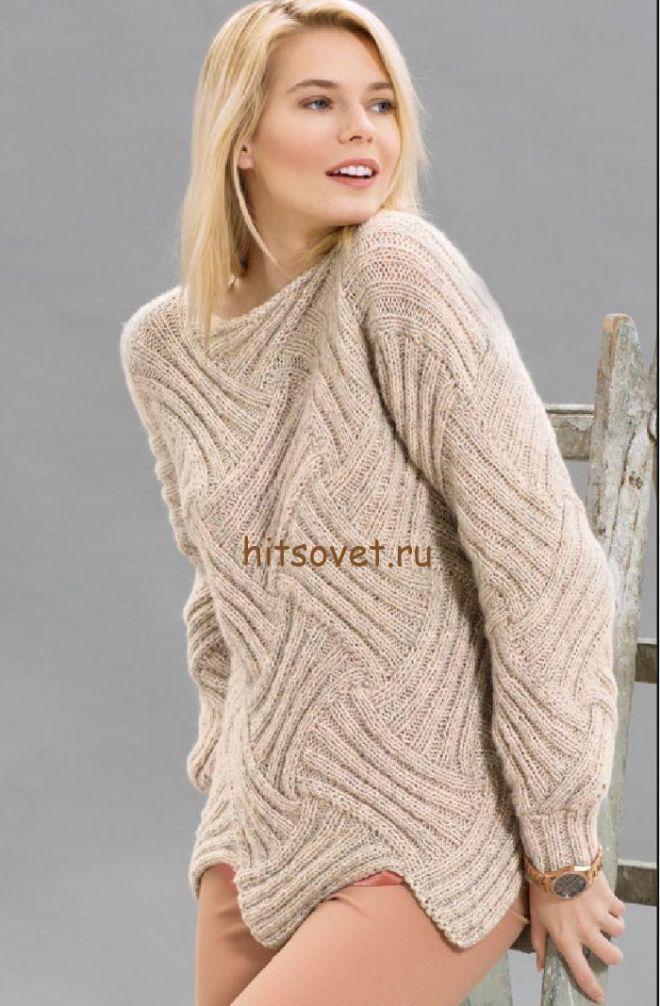 Пуловер в технике энтрелак спицами