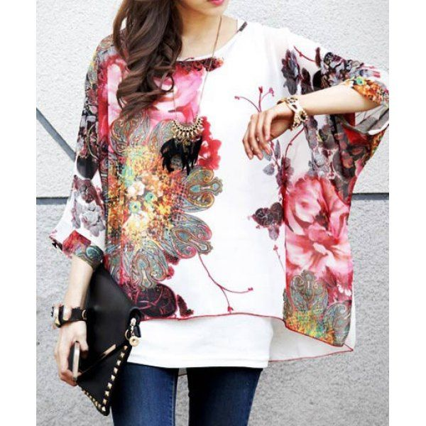 Bohemian Scoop Neck Floral Print Loose-Fitting 3/4 Sleeve Chiffon Blouse For Women
