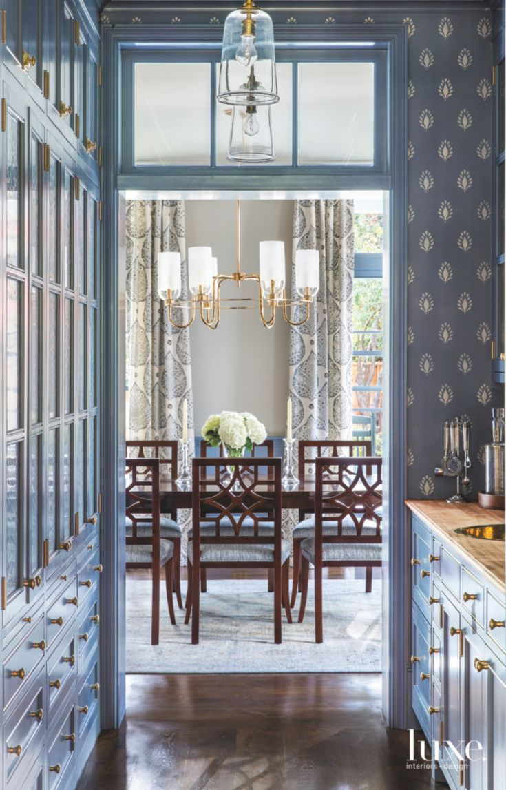 In The Pantry Just Off Dining Room Custom Cabinetry By Innovative Casework Is Painted With A Blue Lacquer Finish Handblown Glass Pendants Are