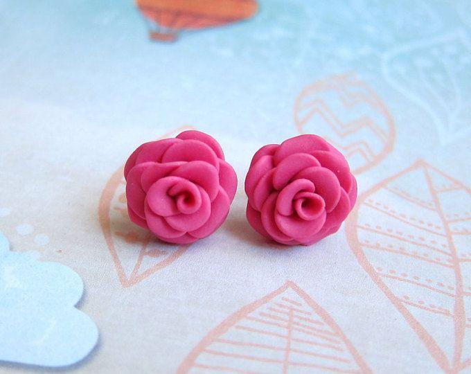 Pendientes de flores para las niñas, traje de fiesta de boda, Ideas de regalos damas de honor, joyería de la boda, Stud pendientes de rosa, rosas pendientes, joyería hecha a mano