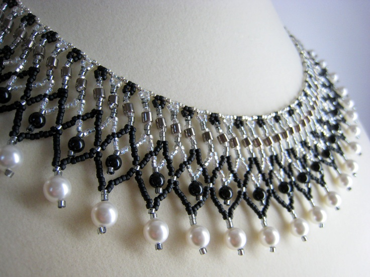 Beaded Collar Necklace, Black, White, Silver Netted Beadwork Jewelry. $76.00, via Etsy.