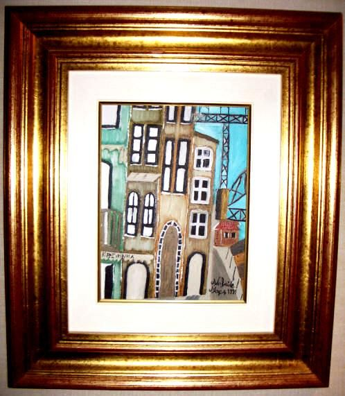 Invicta, Ribeira tendo como fundo a ponte D. Luís   Uma das primeiras obras da pintora Adelaide Moça  Pintado a óleo sobre tela.   Tamanho: 18*24 com Moldura 46,50*41,50 cm