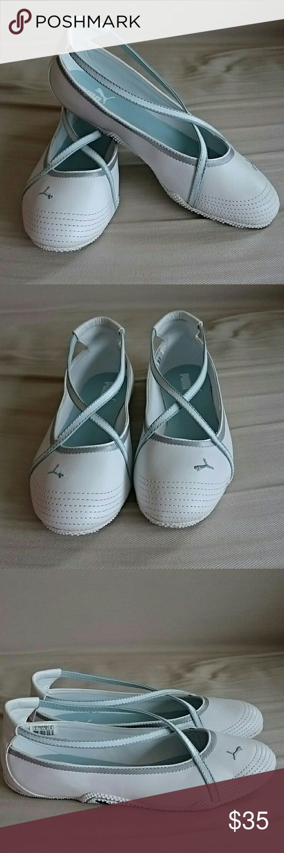 Puma Icon Slip On Flat Sporty ballerina flat with criss-cross straps, cute and comfortable, worn once, like new Puma Shoes Flats & Loafers