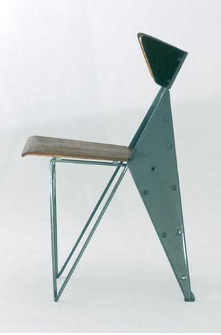 Jean Prouve; Metal and Wood Chair, 1950s.