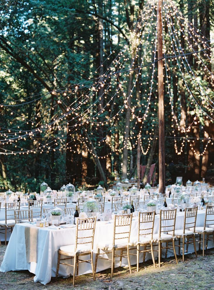 String Lights - If lanterns and chandeliers feel like a bit much to you, try some simple string lights instead. These little sparklers do more than their fair share to add ambience—we love them tented, as pictured.