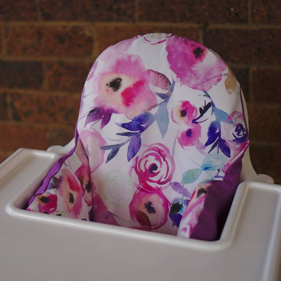 IKEA High Chair Cover To Fit Antilop Pyttig Cushion Insert - First Birthday Highchair Decor - Pear of Stitches - Pink & Purple Watercolour