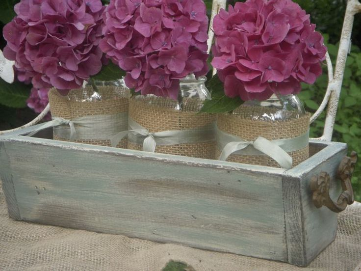 drawer and flowers in jarsChic Planters, Decor Ideas, Rustic Chic Decor, Drawers, Ducks Eggs Blue, Planters Boxes, Mason Jars, Flower, Diy Centerpieces