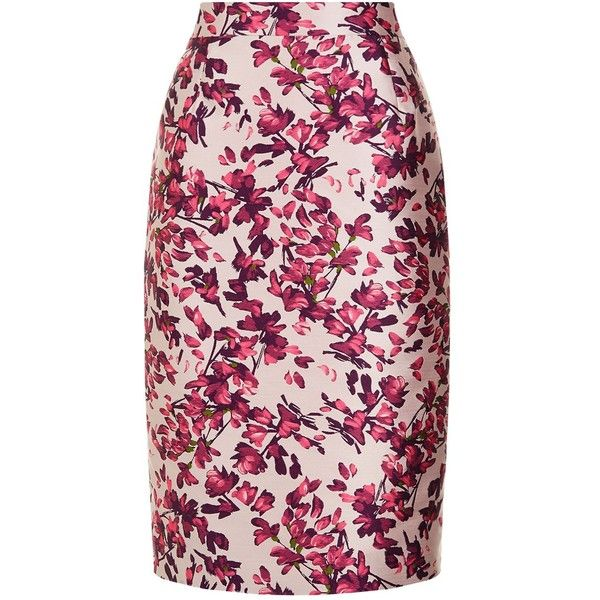 Escada Fil-Coupé Floral Skirt (37,195 INR) ❤ liked on Polyvore featuring skirts, midi pencil skirts, pink midi skirt, pink skirt, pink pencil skirt and pencil skirts