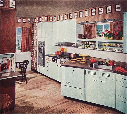 Covering Glass Kitchen Cabinets: Cutest Mid Century Kitchen, Shiny Counters And Counter