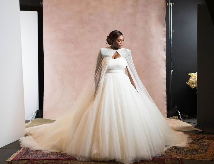 Serena Williams dons her custom Sarah Burton for Alexander McQueen princess gown and cape for her marriage to Alexis Ohanian – November 16, 2017 | Photograph by Bob Metelus and Erica Rodriguez | Vogue Magazine