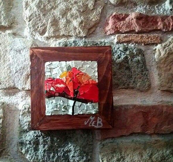 #mosaic #flower #handmade #wood #stones