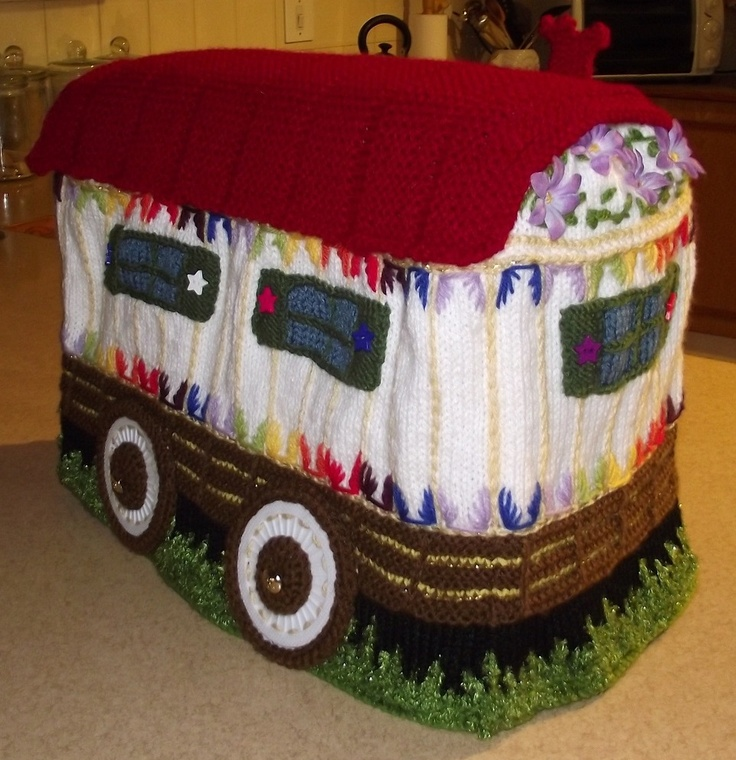 Campervan Tea Cosy Knitting Pattern : Gypsy caravan sewing machine cover. Adapted from a vintage tea cozy pattern. ...