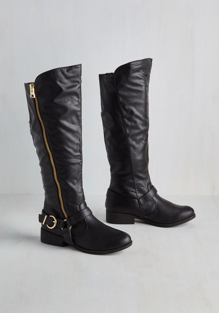 Feet Cred Boot. Your toes will be the most talked about at girls night thanks to these black knee-high boots! #black #modcloth