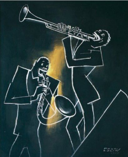 illustration by Paul Colin (1892-1985), 1925, Les Musiciens Jazz, Oil on panel.