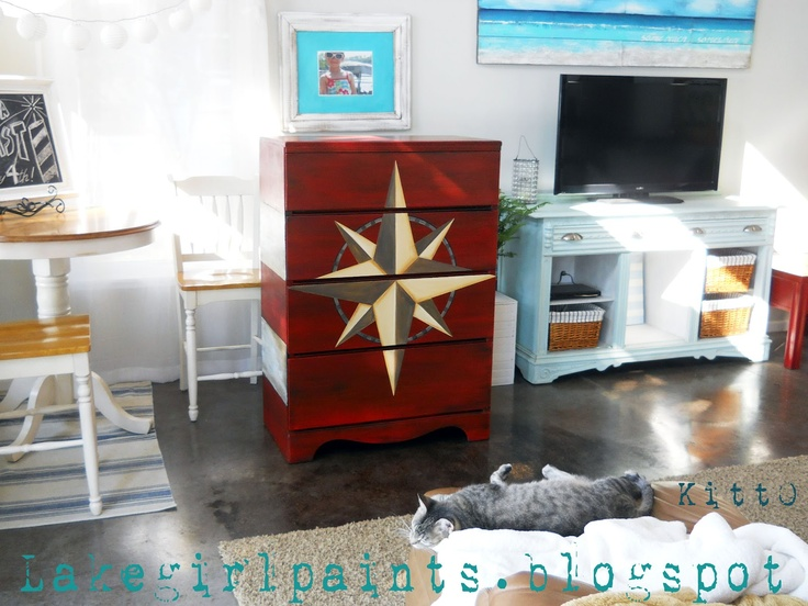 Lake Girl Paints: Nautical Compass Dresser: Girl Paints, Furniture Inspiration, Painted Furniture, Compass Dresser, Picture Painted, Lake Girl, Dressers, Nautical Compass, Furniture Ideas