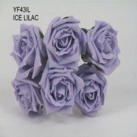 YF43IL- QUALITY  COTTAGE ROSE IN ICED LILAC COLOURFAST FOAM - BUY 60 BUNCHES AND PAY £1.15 A BUNCH