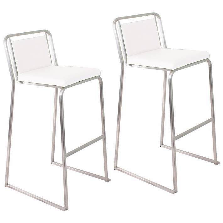 "Cascade 29 1/2"" White Bar Stool Set of 2 - #N2533 