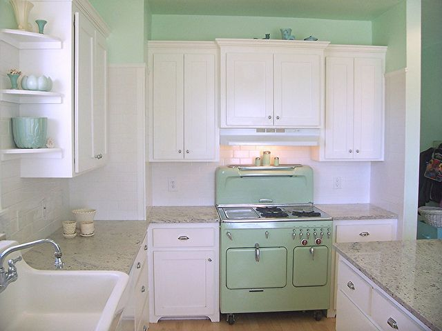 Vintage Chambers model C stove that set the color for the kitchen. www.hollyabston.com