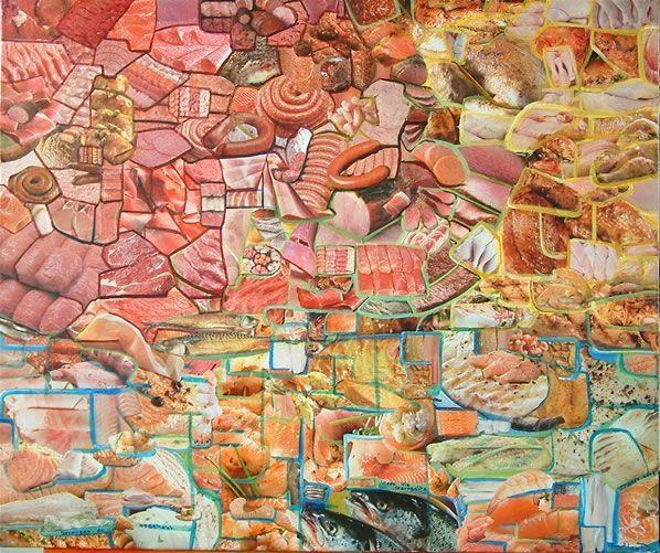 Collage van uitgeknipt vlees en vis uit supermarkt tijdschriften.