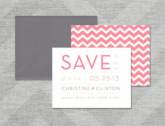"Modern Wedding Save the Date, Chevron Save the Date, Grey, White and Pink Save the Date, Typography Save the Date - ""Christine"" SAMPLE"