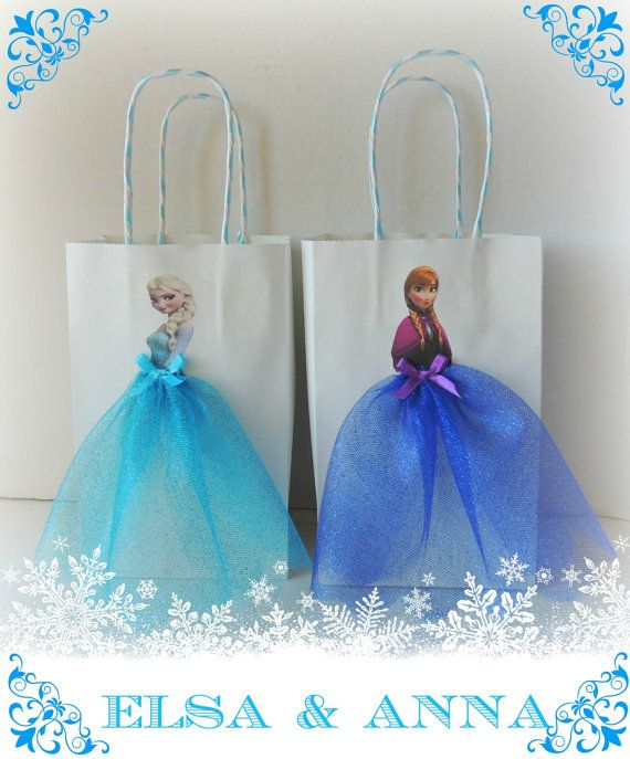 10 Pieces Frozen Elsa Anna Paper Tutu Birthday Favor Goody Gift Bags