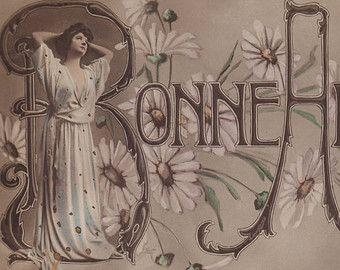 Colorato foto cartolina - giovane donna e margherite, cartolina d'epoca romantica in stile art nouveau di vittoriano capodanno carta - Experience - - 1906 (B872)
