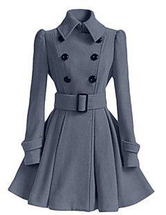 Alkalmi / Casual/hétköznapi Vintage / Egyszerű Őszi / Téli-Női Kabát,Egyszínű Állógallér Hosszú ujjRózsaszín / Piros / Fehér / Fekete /