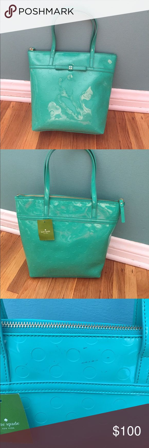 Kate spade teal purse Never Used!!!  Kate Spade Cemellia Street patent leather Handbag, ZipTop Closure, Interier polyestor Lining, 2 Inside Pockets! It has some little marks on the back near the top of the purse but can be hidden and isn't very noticeable! kate spade Bags Totes