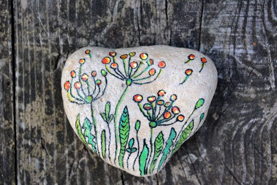 Hand painted stone. Home decor. Painted rock art. Heart shaped stone. Decorative stones