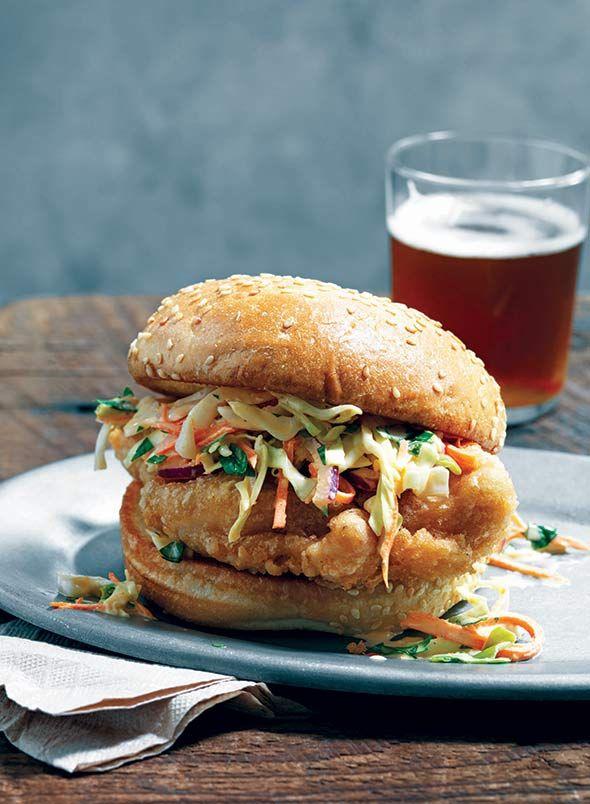 Beer-Battered Fried Chicken Sandwich Recipe (With its ethereally crisp coating and its sassy slaw, this fried chicken sandwich just may be chicken's answer to the pulled pork sandwich.)