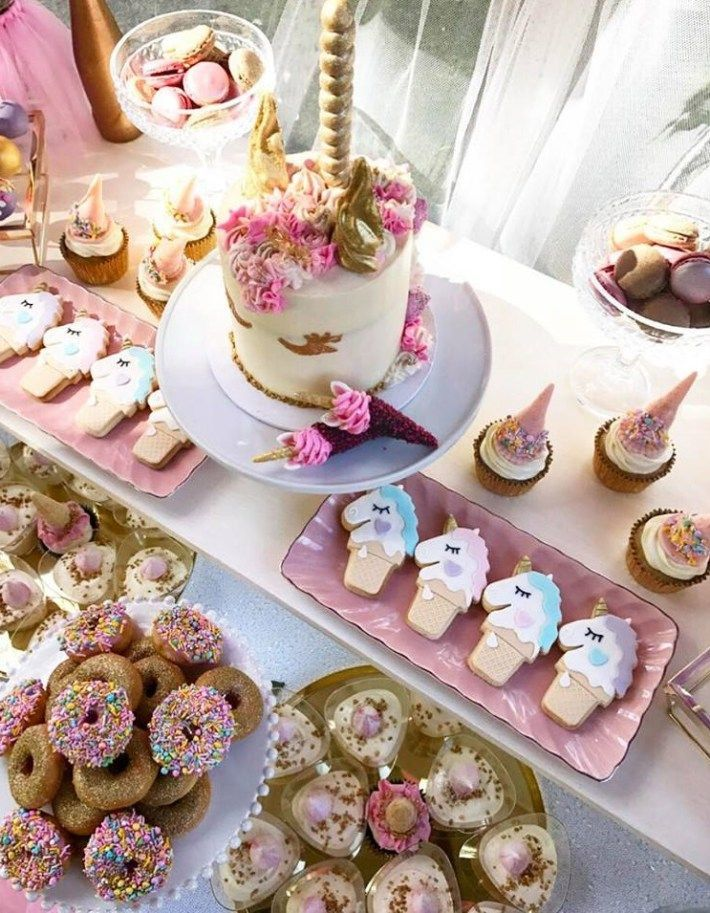 First Unicorn Birthday Party Dessert Table Birthday Party Desserts Party Desserts Unicorn Birthday Parties