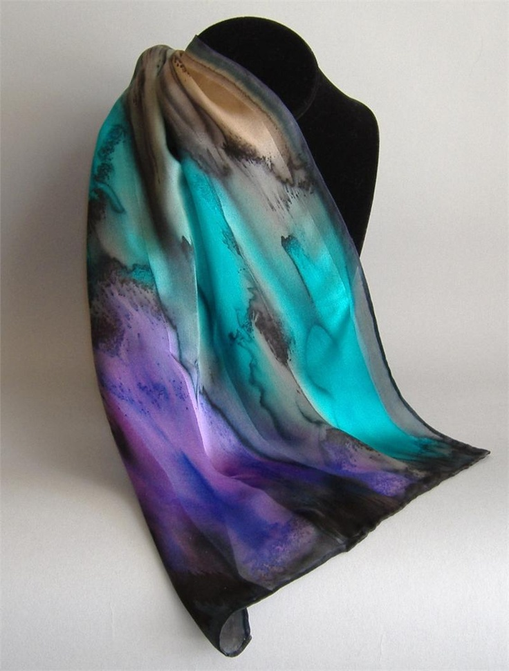 Stunning hand-dyed silk scarf -- all my favorite colors!  By Ateho, Art to Wear.