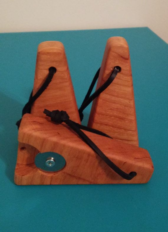 Wooden Bottle Opener With Leather Strap by ClasModWood on Etsy