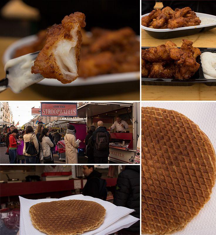 Kibbeling, stroopwafel in Albert Cuyp Market, Amsterdam