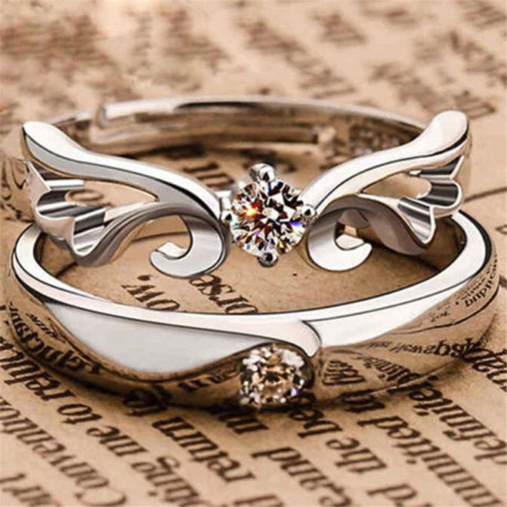 2pcs Silver Plated Lovers Crystal Couple Rings Her and His Promise Ring  Band New