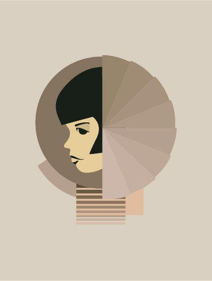 Poster with Bauhaus shapes vissevasse