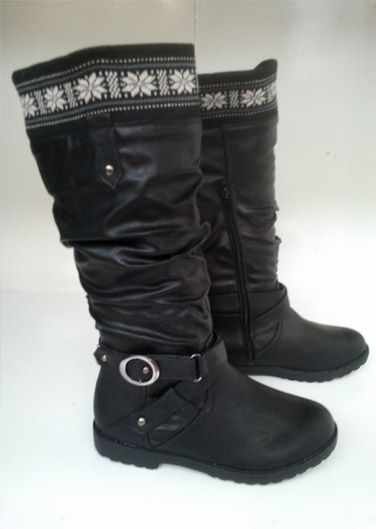 Ladies Wilder Calf Buckle Riding Boots Black. Price £19.99 ONLY