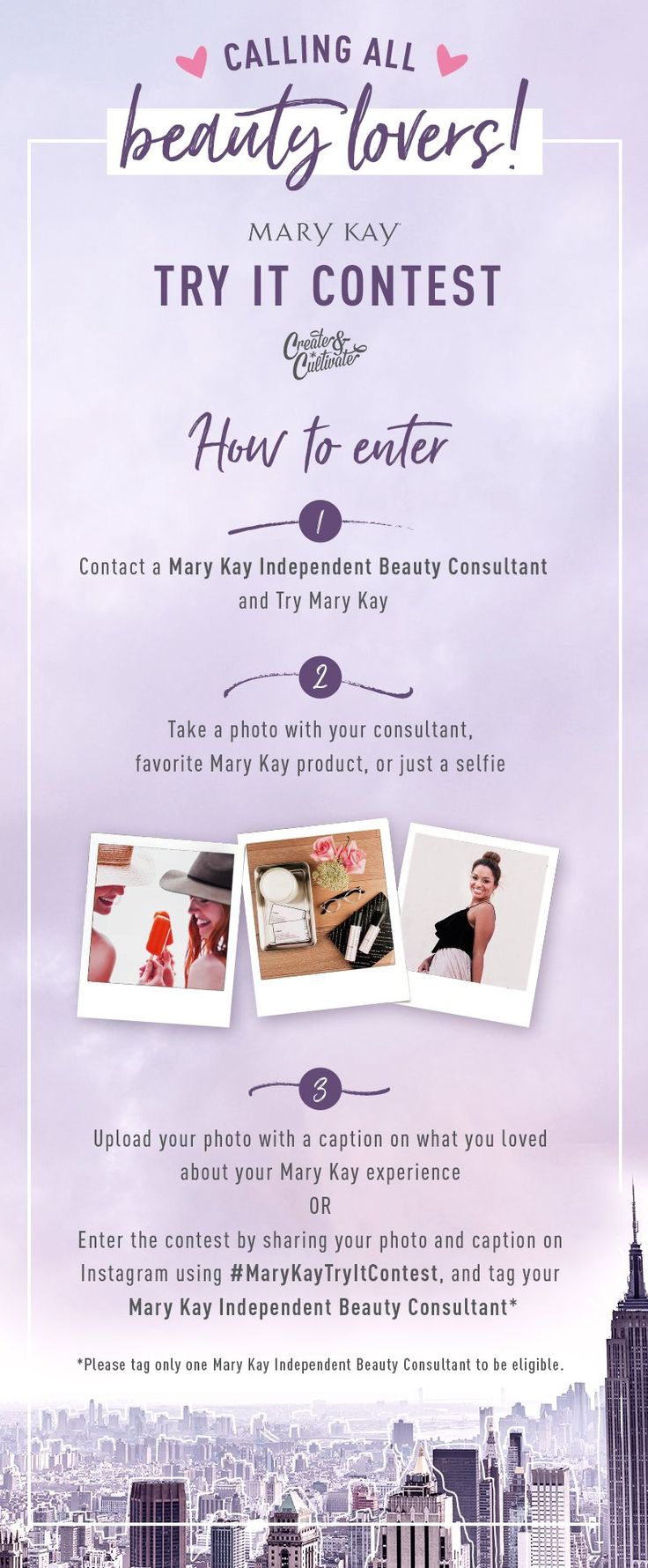 Calling all beauty lovers! You could win a fabulous trip for two to New York just by using your favorite Mary Kay products. Learn more about this Instagram contest and view rules at www.marykay.com/tryitcontest.