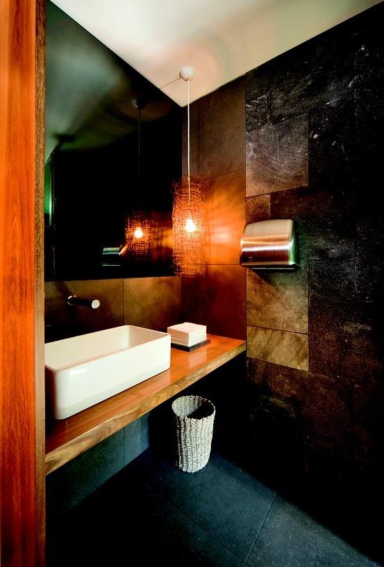 Bathroom with stone cladding interior