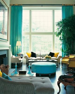 turquoise and yellow decor. drake design associates