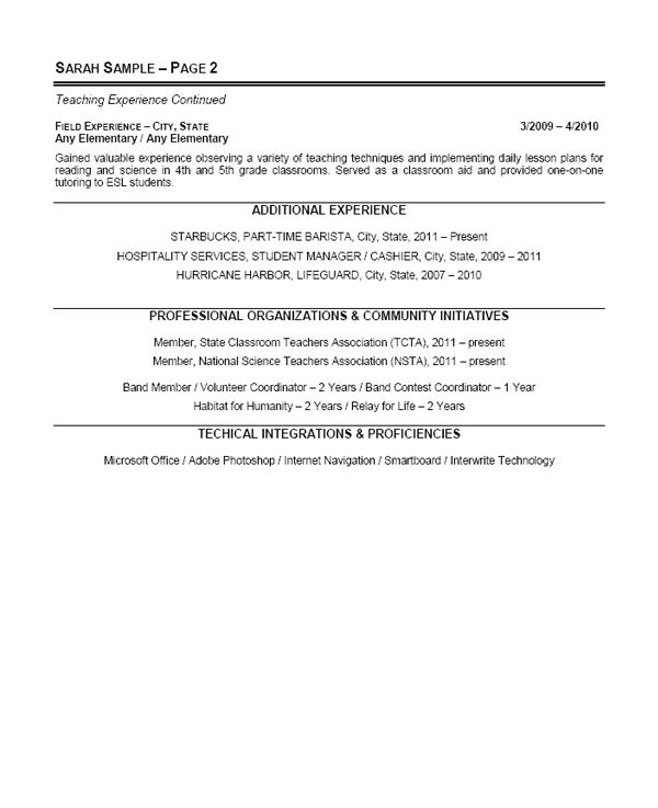 Elementary School Teacher Resume RESUMES Teaching resume