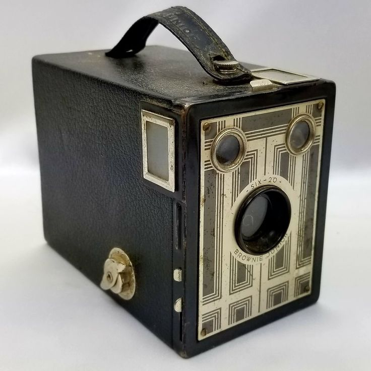 1 Vintage Brownie Junior Jr Six 20 Antique 620 Film Box Camera Black Silver Art Deco Photography #Kodak