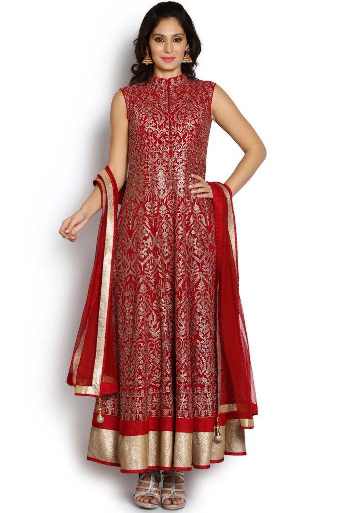 Soch Red & Golden Georgette Fashion Neck Anarkali Suit #Anarkali #Red