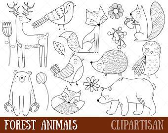 Wald Tiere digitalen Stempel | Linie Art | EPS Vektor-Grafiken | Malvorlagen