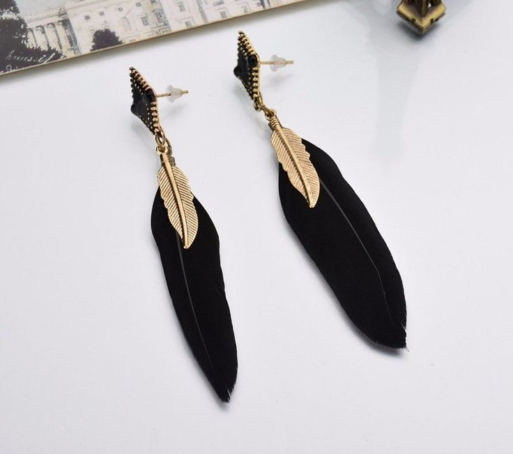 Bohemian Ethnic Jewelry Alloy Leaf Black Feather Earrings Women Blue Long Earrings Female Women Fashion Jewelry