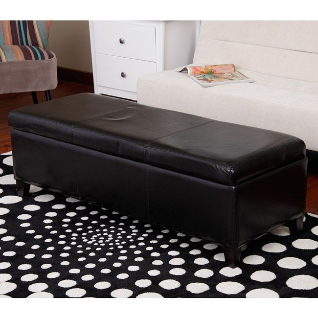 Warehouse of Tiffany Sharon Black Storage Bench (Sharon Bi-Cast Leather Storage Bench), Size Medium