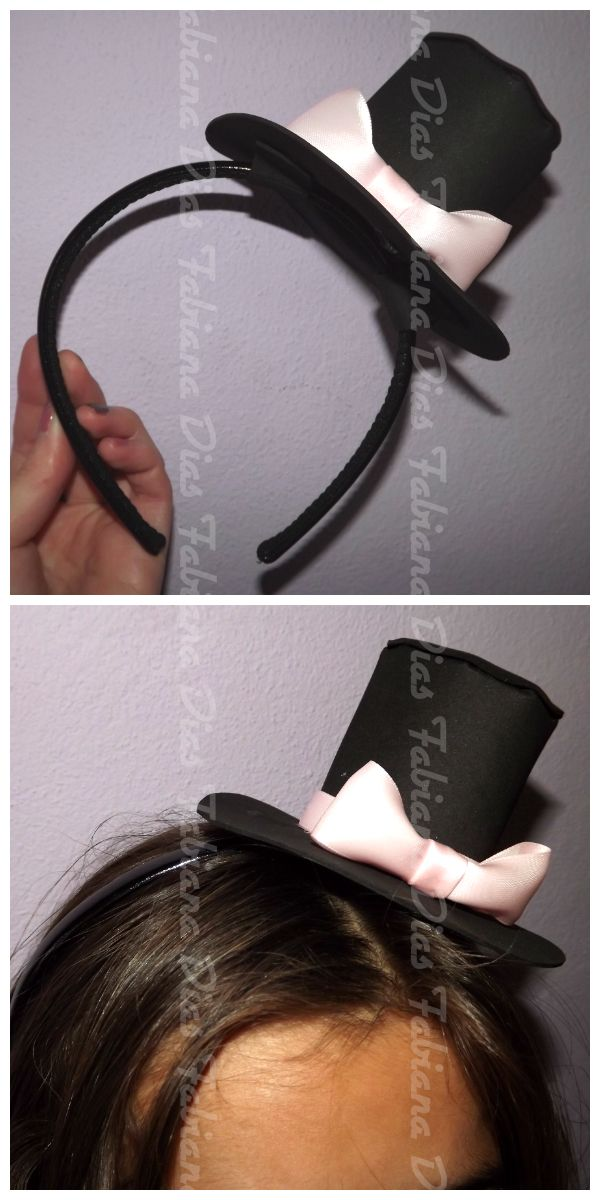 Chapéu em Papel EVA e fita de cetim