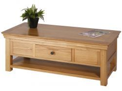 Reliable and enduring wood furniture New Haven Oak Coffee Table with 2 Drawers which is a modern stylish.